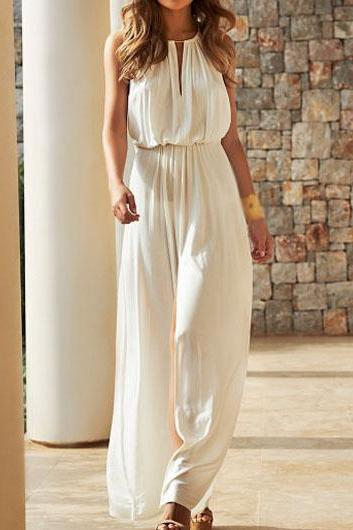 Free shipping Casual High Waist Sleeveless Solid White Maxi Dress