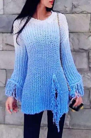 Fashion New Round Neck Tassel Decorated Pullover Sweater - Blue