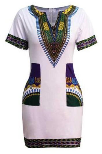 Free shipping Split Neck Dashiki Print Dress - White