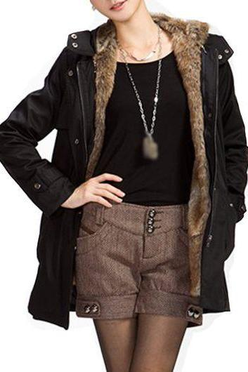 High Quality Black Hooded Collar Long Sleeve Belted Parka Coat