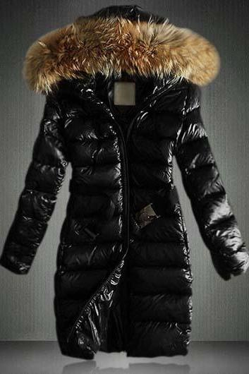 High Quality Faux Fur Hooded Collar Zipper Fly Black Coat
