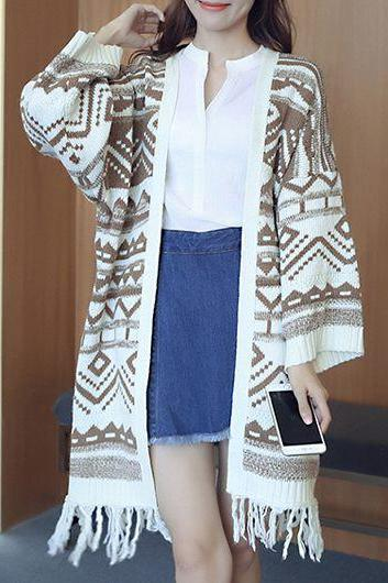 Causal Tassels Decorated Collarless Long Sleeve Cardigan