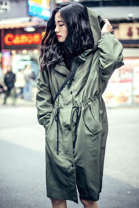 Fashion Elastic Waist Hooded Trench Coats (2 Colors)