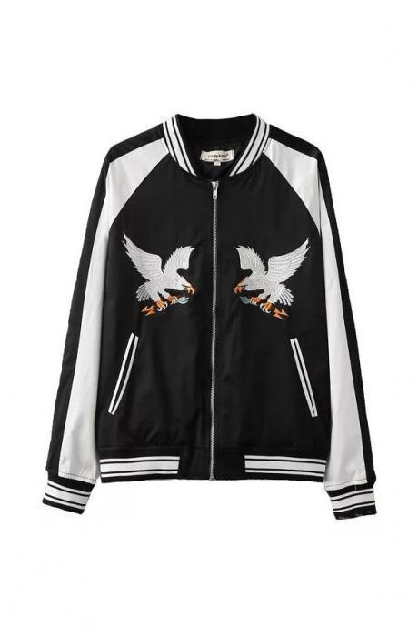 Eagle Embroidered Color Block Satin Bomber Jacket