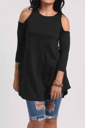 Women Round Neck Cold Shoulder Blouse - Black