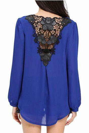 Casual Lace Panel Long Sleeve Surplice Blouse - Blue