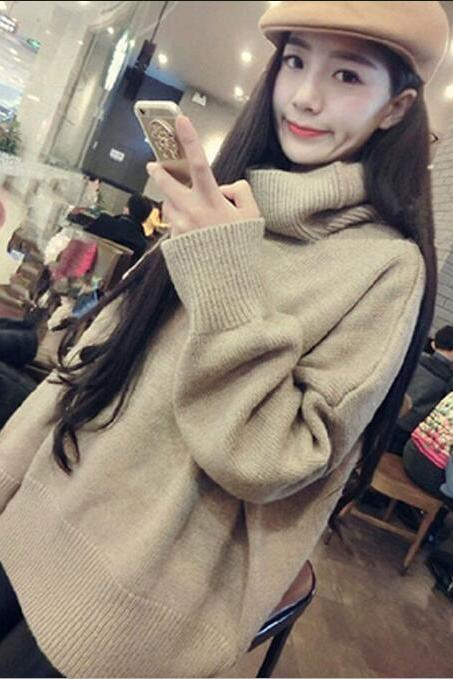 New Loose Knitted Turtleneck Sweaters (2 Colors)