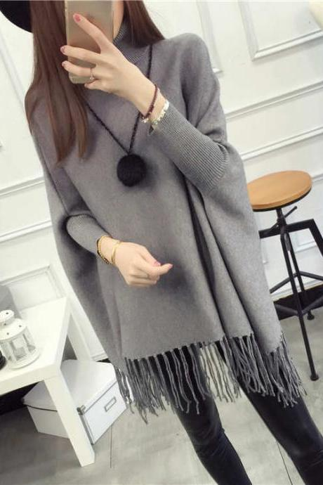 High Quality New Casual Turtleneck Batwing Sleeve Sweaters - Grey