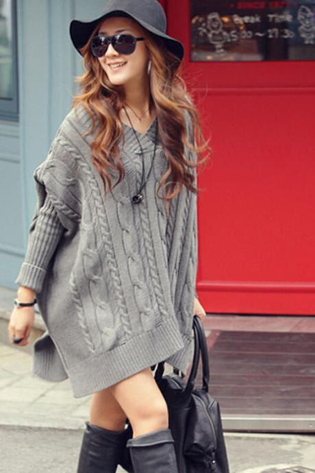 Casual Batwing Sleeve Loose Sweater Dress