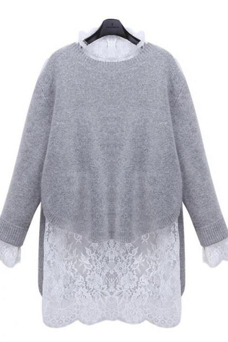High Quality Fashion O Neck Lace Long Sleeve Sweater For Women