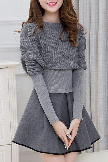 Fashion Top and Pleated Mini Sweater Dress - Grey