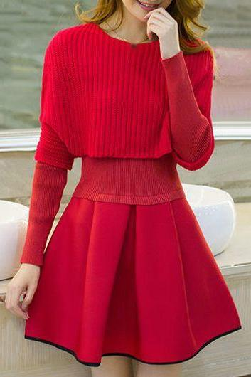 Fashion Top and Pleated Mini Sweater Dress - Red