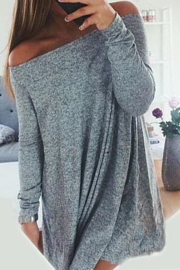 Fashion New Long Sleeve Off the Shoulder Shift Dress - Grey