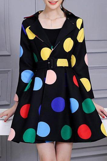 Fashion Notch Collar Dot Print A Line Coat