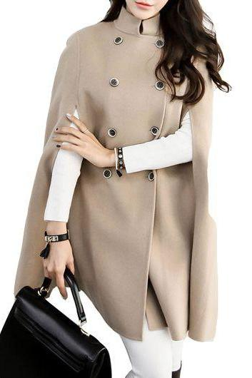 Causal Double Breasted Solid Apricot Cloak Long Coat