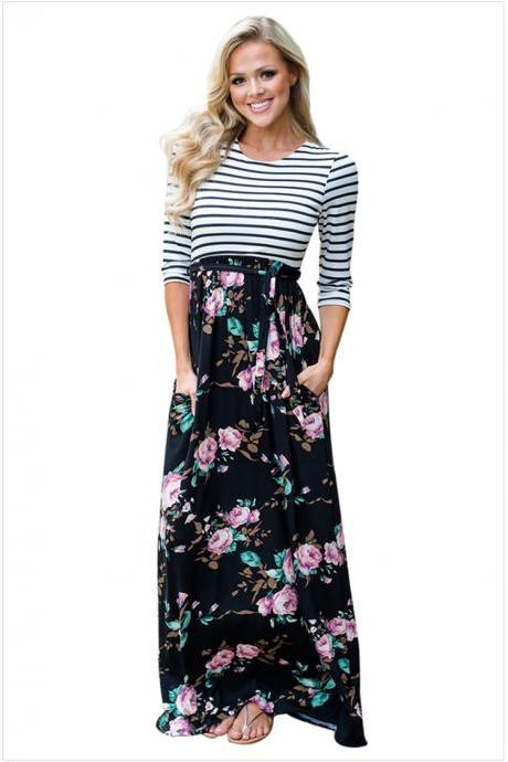 New Stripe Round Neck Half Sleeve Printing Bohemia Long Dress
