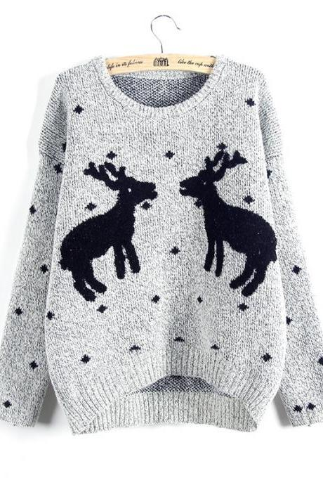 Cute And Fashion Two Elks Pullover Christmas Sweater - Grey