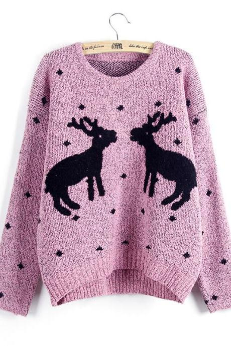 Knitted Reindeer Pullover / Sweater - Pink
