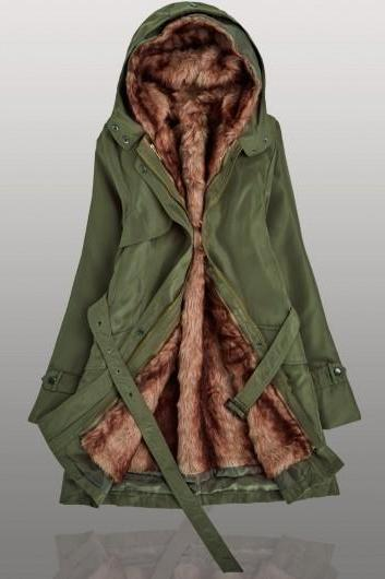 Free Shipping High Quality Hooded Collar Long Sleeve Belted Parka Coat For Women - Arm Green