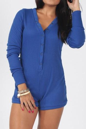 Fashion V Neck Long Sleeve Skinny Rompers - Blue