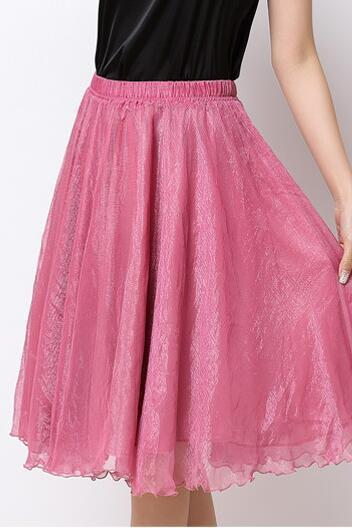 High Waist Chiffon Midi Skirt Summer Ladies Casual Slim Beach Skirts - Rose