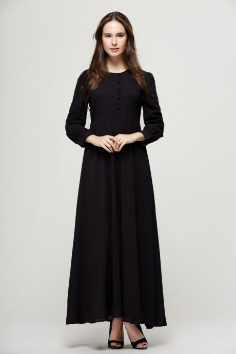 Free Shipping Vintage Long Sleeve Chiffon Dress - Black