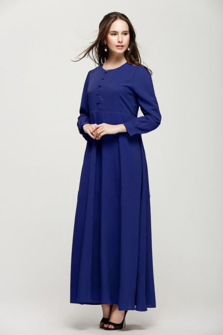 Free Shipping Vintage Long Sleeve Chiffon Dress - Blue