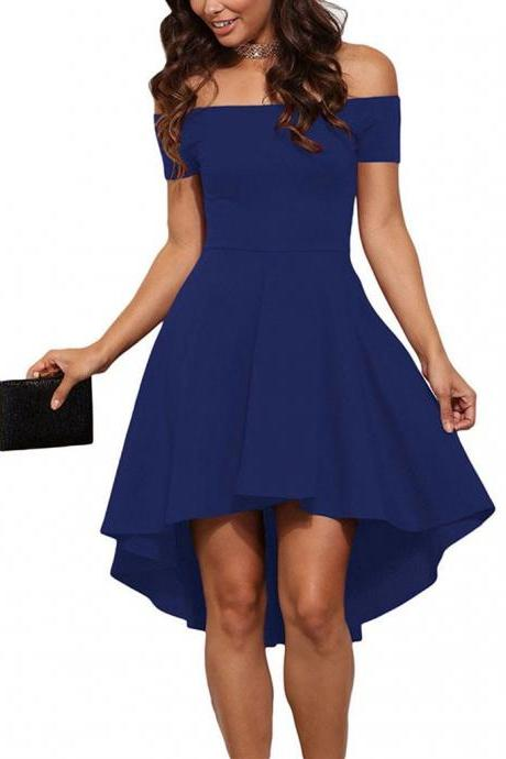 Free Shipping Sexy Boat Neck Off Shoulder High Low Dress - Blue