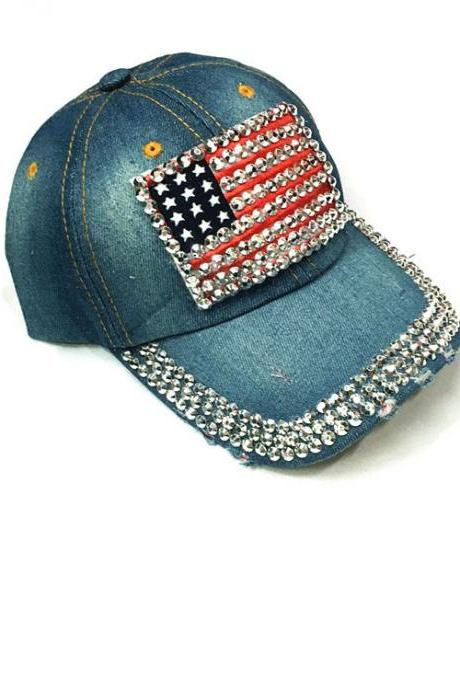 Women The American flag diamond Baseball Cap Hat