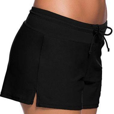 Free Shipping Good Quality Drawstring Waist Swimwear Shorts - Black