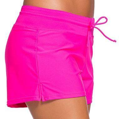 Free Shipping Good Quality Drawstring Waist Swimwear Shorts - Rose