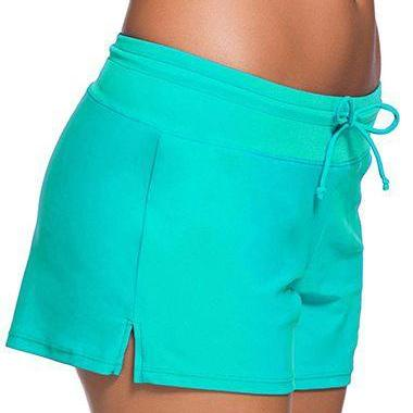 Free Shipping Good Quality Drawstring Waist Swimwear Shorts - Green