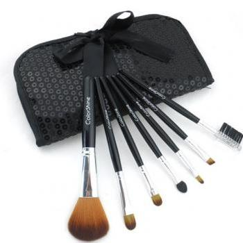 ColorShine High Qulity 7Pcs Pro Makeup Make Up Cosmetic Brush Set Kit w/ Leather Case - Black