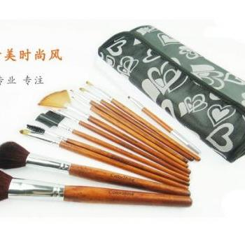 Color shine 12pcs animal clip-on cosmetic Pink Makeup brushes set