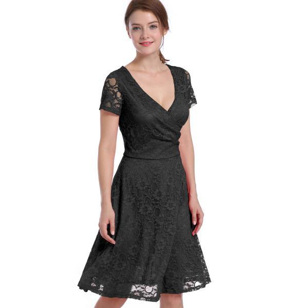 Sexy and Fashion V Neck Short Sleeve Hollow Lace Dress - Black