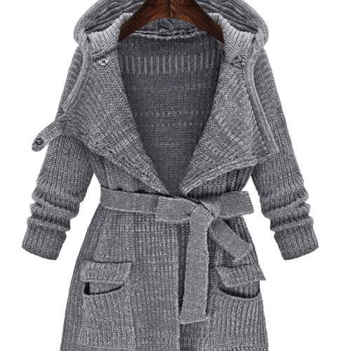 Fashion New V-neck Pockets Strap Belt Bowknot Long Hooded Cardigan - Grey