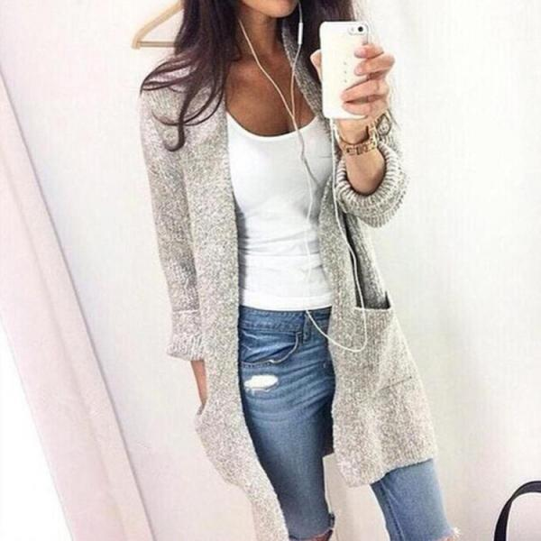 Women Pockets Loose Style Sweater Cardigan