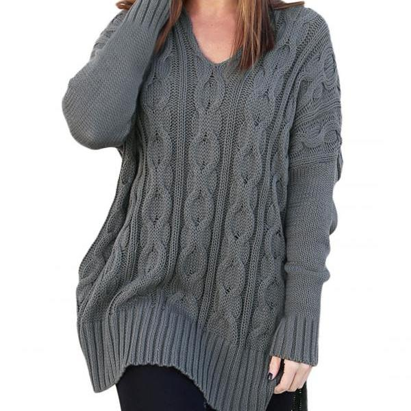 New Design Fashion V Neck High Low Pullover Sweater For Women AM114 - Grey