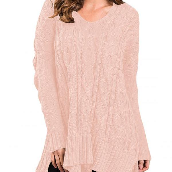 New Design Fashion V Neck High Low Pullover Sweater For Women AM114 - Pink
