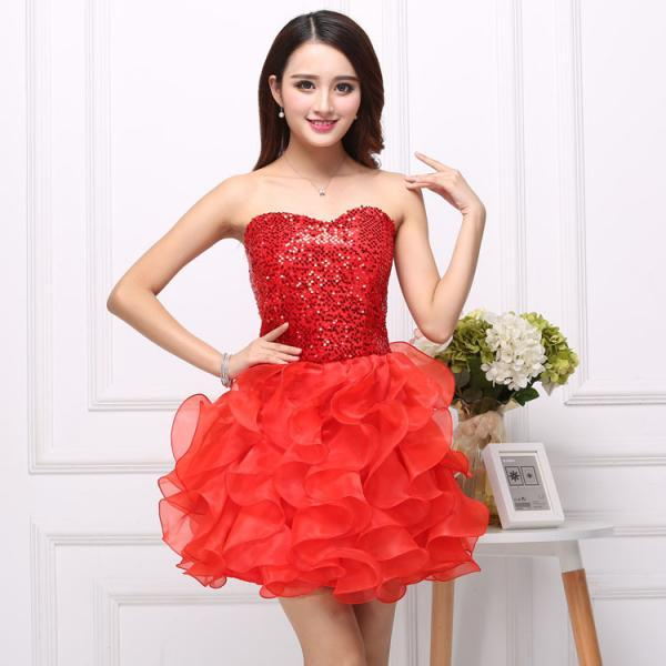 Sequins Cute And Beautiful Strapless Dress