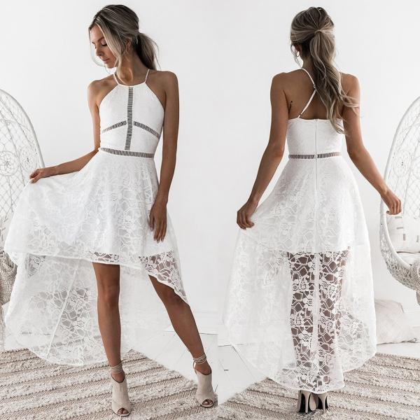 White Halter Sling Lace Maxi Dress