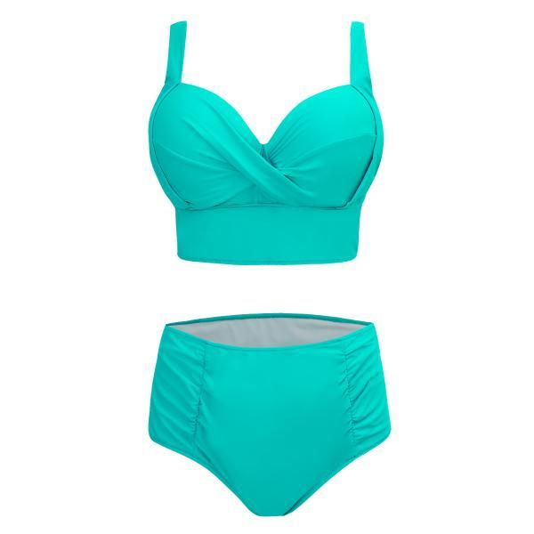 High Waist V Neck Solid Swimwear - Green