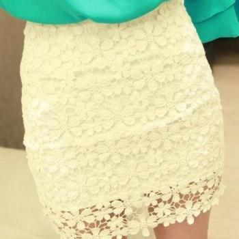 Fashion New High Waisted White Lace Mini Skirt
