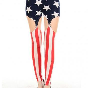 Tight Ankle Length Cut Out American Flag Leggings