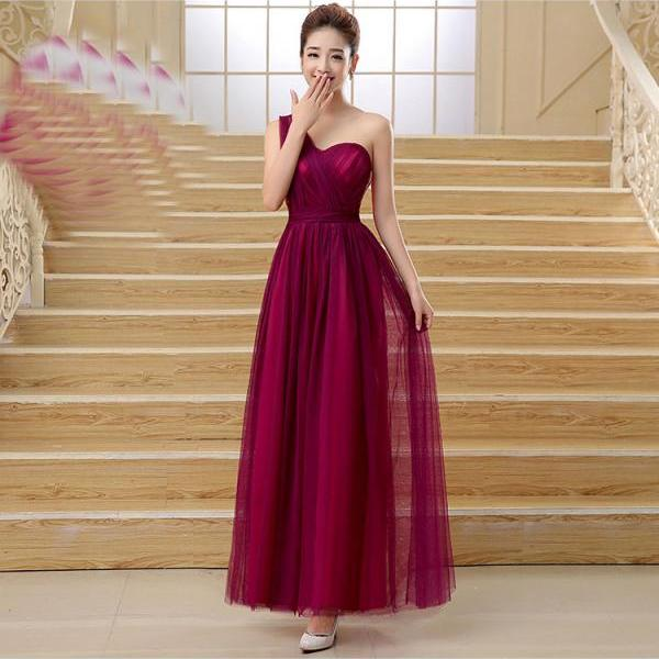 Cute Multi Wear Evening Party Dress - Wine Red