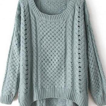 Comfy Round Neck Long Sleeve High Low Hem Sweater - Green