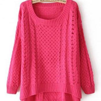 Comfy Round Neck Long Sleeve High Low Hem Sweater - Rose