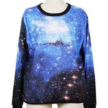 Unisex Loose Long Sleeve Sky Blue Starry Tees