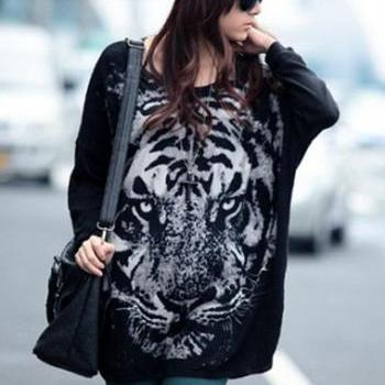 Vogue High Low Hem Tiger Print Black T Shirts