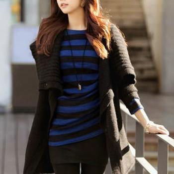 Korean Style Woman Long Sleeve Cardigan Sweater - Black on Luulla